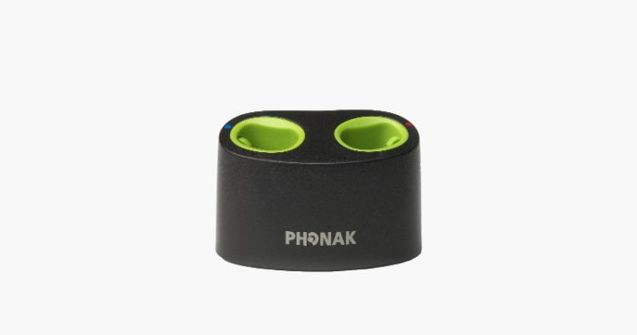 A black mini Phonak charger
