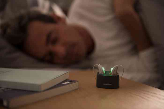 Rechargeable hearing aids are charging during the night